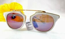 Cat Eye Sunglasses Cool Trendy White-Gold Brown Lens Sunglasses Collection