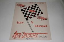 Midget Car Auto Racing Program, Ascot Park California May 30 1962