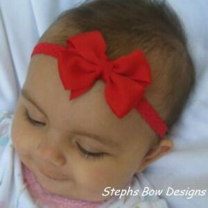 Red Dainty Hair Bow Lace Headband FITS Preemie Newborn Baby Toddler July 4th