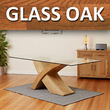 Glass Top W/ Oak Cross Base Dining Table Room Furniture 200cm