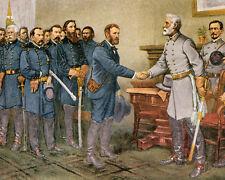 Grant Meets Robert E Lee US Civil War Painting 8x10 Real Canvas Art Print
