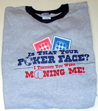 T-Shirt Poker Face Gray Black Cotton Large L