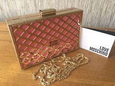 LOVE MOSCHINO GOLD & PINK TRELLIS BOX CLUTCH EVENING SHOULDER BAG BNWT