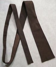 EARTHY BROWN SUEDE LEATHER TIE STYLE FRINGED 1960s 1970s VINTAGE RETRO MOD