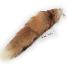 13 inch Real Red Fox Tail Fur Swift Handbag Accessory Key Chain Ring Cosplay Toy