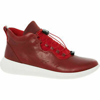£125 ECCO Scinapse Red Leather Comfy LaceUp Hi-Top Fashion Trainers UK 6/EU 39