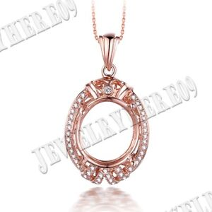 Pave Prong Setting Oval 13x11mm Natural SI/H Diamond Pendant Solid 10K Rose Gold