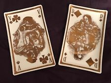 Vintage Paul Emile Becat Plaisirs d'Amour Glass Guild Set 2 Playing Card Trays