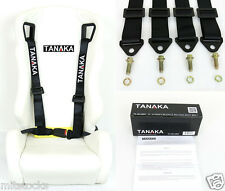 1 TANAKA UNIVERSAL BLACK 4 POINT BUCKLE RACING SEAT BELT HARNESS 2""