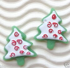 20 pcs x Green Christmas Tree Resin Flatback Beads w/Snow for X'mas/Cards SB415