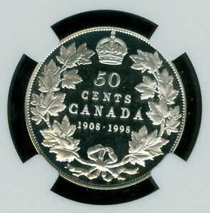 1998 90TH ANN. CANADA SILVER 50 CENTS NGC PF70 UHCam MAC SOLO FINEST  SPOTLESS *