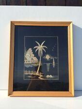Paysage Indochinois encadré - Collage de paille de riz sur soie - 33 x 28 cm