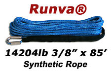 "New Runva Off-Road Synthetic Winch Rope 3/8"" x 85ft Rated 14204lb"