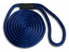 "1/2"" x 15' Solid Braid Nylon Dock Lines - Navy - Made in USA"