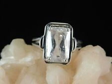 5.85 ct. Emerald Cut Kunzite Ring Simple Sterling Silver Setting