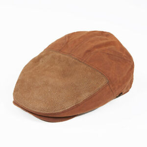 JAMIE Cabbie Fine Perforated Leather & Wax Cotton Flat Cap