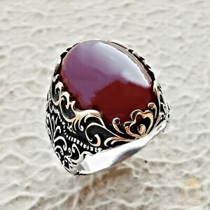 Mens Vintage Ring Agate Aqeeq Ancient Gemstone Jewelry Genuine Stone Cool Design