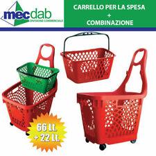 Carrello Spesa Supermercato 4 Ruote Colore Rosso Vari Modelli Cesta per Market