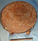 US American Eagle symbol in leather w/ arrows & shield Brazil rosewood(?) stool