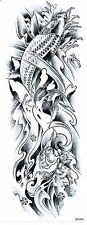 BRACCIO COMPLETO Carpa Pesce d'acqua River Nero Oro Tribal Tattoo Tatuaggio Temporaneo Manica