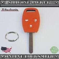 Orange Protective Rubber Case Silicone Cover For Honda Remote Key Shell Buttons