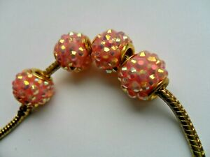 20 Pink Resin Crystal Gold Core Beads to fit European Bracelet BLING