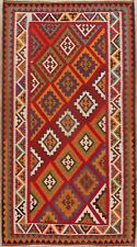 Diamond Shape Kilim Geometric Kashkoli Area Rug Hand-Woven Vegetable Dye 5'x8'