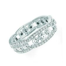 Silver Coloured Clear Crystal Elasticated Bracelet Ladies Fashion Jewellery