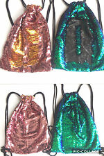 Reversible Sequin Glitter Drawstring / Gym / Dance / Sports Bag.  Gold & Pink