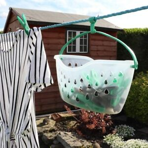 JVL Strong Hanging 36 Plastic Clothes Pegs in Basket with Hook Washing Line