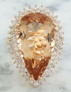 14.46 Carat Natural Morganite 14K Solid Rose Gold Luxury Diamond Ring