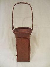 BASKET IKEBANA Vintage Old JAPANESE Woven w/ Handle TALL - Very Fine