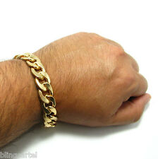 "Cuban Link Alloy Bracelet 14mm Thick Wide Gold Finish Large Mens 8.5"" Inch Curb"