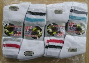 12 Pair Mens Sport Sock White Stripe Size 6-11 Royal Collection Cotton Mix Fibre