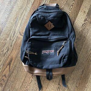 "Vtg 90s Jansport ""Original"" Black Classic Leather Bottom Backpack Daypack Swuare"