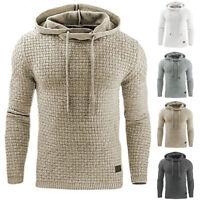 Men Hooded Sweatshirt Coat Plain Design Hoodie Sweater Pullover Hoody Jacket Top