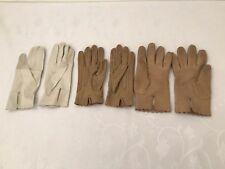 Ladies Vintage Leather Gloves Real Kid Isotoner Grandoe Italy White Brown Lot