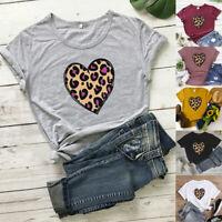 Women O-Neck Short Sleeve Tee Heart Leopard Print T-Shirt Casual Blouse Tops