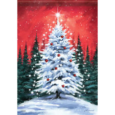 "Snowy Tree Christmas House Flag  28"" x 40"" Double sided by Carson Winter"