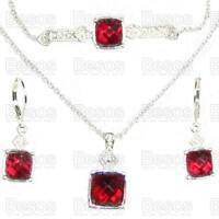 JULY 3 PIECE BIRTHSTONE SET pendant ruby red/silver BRACELET,NECKLACE,EARRINGS