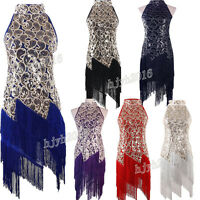 1920s Flapper Fringe Dress 20s Gatsby Party Charleston Sequin Cocktail 6 Colors