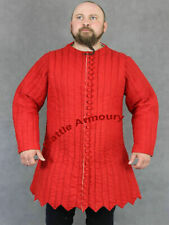 Medieval Thick Red Historical Padded Gambeson Aketon Jacket Armor Reenactment