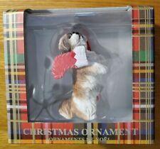 "New Sandicast Shih Tzu Gold White Dog with Stocking Christmas Tree Ornament 3.5"""