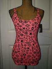 NO BOUNDARIES Junior Hot Pink Black Aztec Long Tank Cami Top Outfit Sz S-L NWT