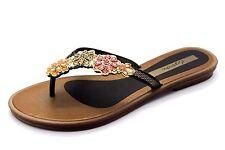 Grandha Womens UK 7 EU 40 Brown Metal Floral Flip Flop Sandals Toe Post FREEPSOT