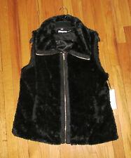 Calvin Klein Womens Black Faux Fur Vest L NWT $109