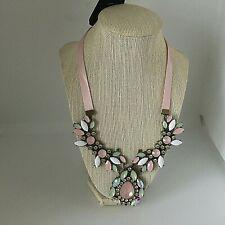 """Statement Bib Necklace Resin Beads Ribbon Jewelry Pink 18""""-20"""" NEW Gift Box"""