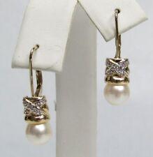 14K PEARL DIAMOND EARINGS