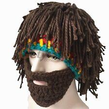 Dread Lock Knitted Men Beard Beanie Wig Crochet Mustache Face Hat Cap Winter