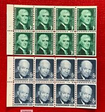 US Stamps SC#1278a 1393a 1c Jefferson 6c Eisenhower Two Pane of 8, Dull Gum